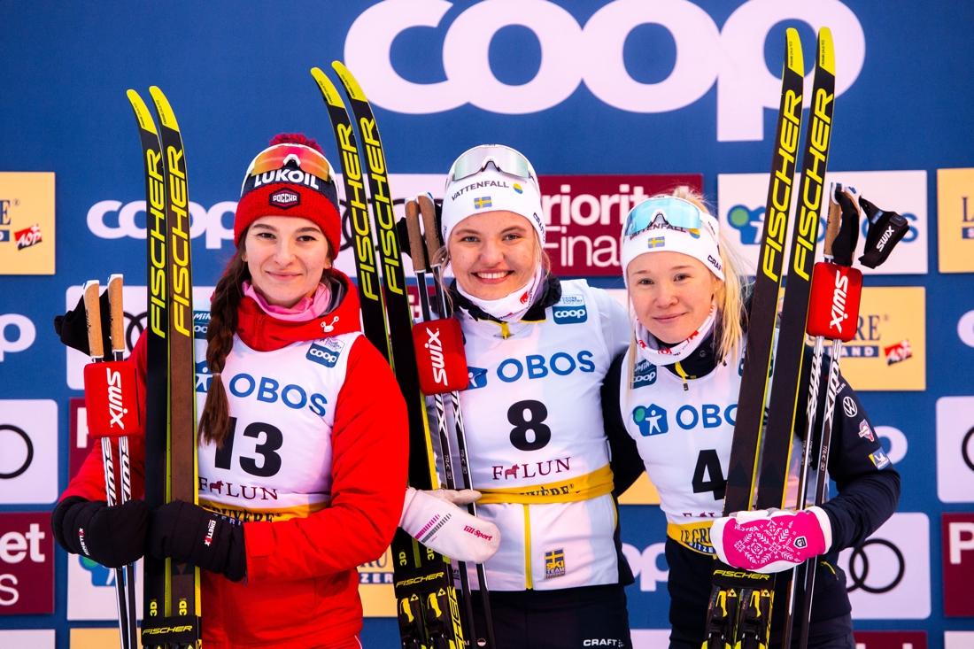 Nepryaeva, Svahn och Sundling på pallen. FOTO: Bildbyrån/Simon Hastegård.