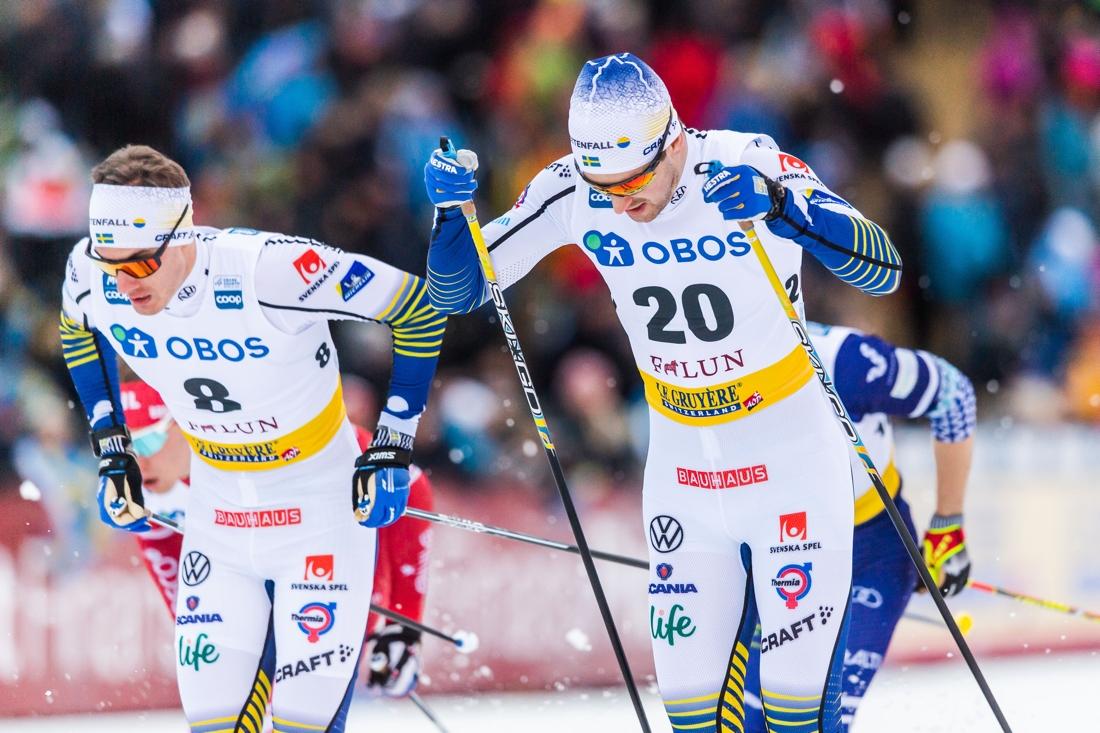 Johan Häggström och Teodor Peterson i semifinalen där Johan var sexa och Teodor gick till final som tvåa. FOTO: Bildbyrån/Simon Hastegård.