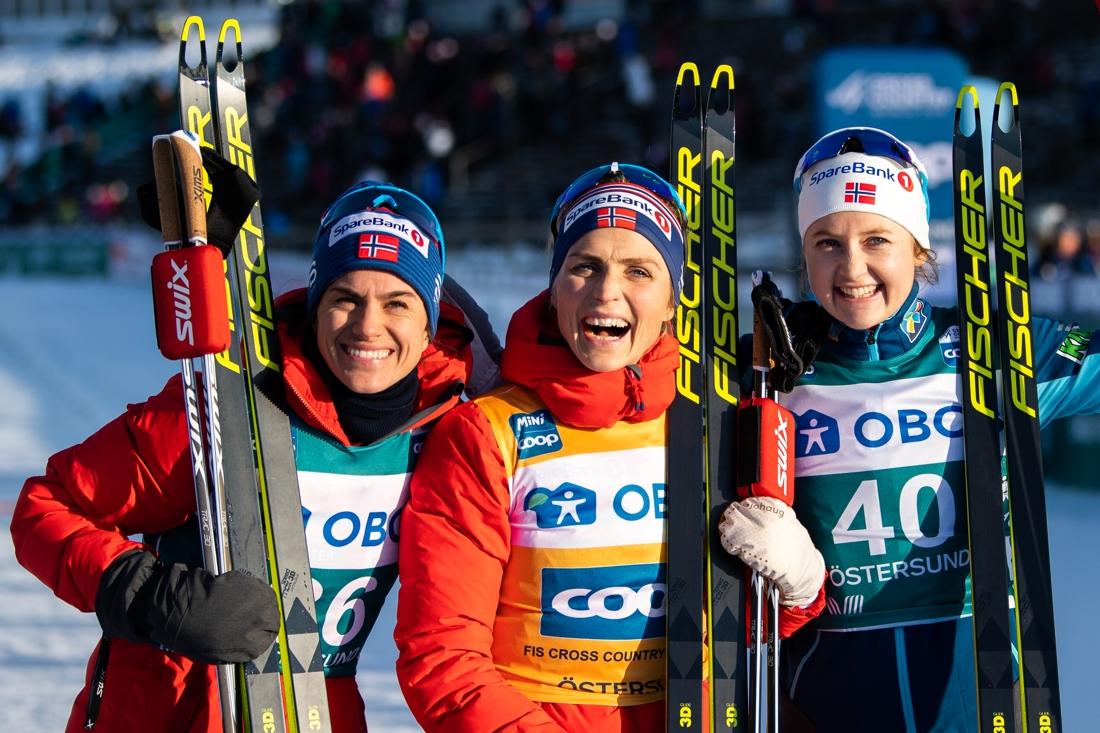 Topprion: Weng, Johaug och Östberg. FOTO: Bildbyrån/Carl Sandin.