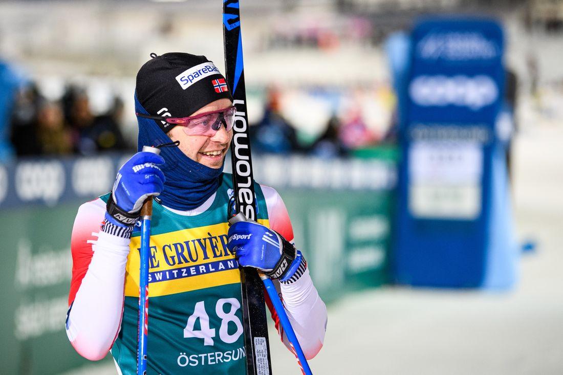 Sjur Röthe svarade för en imponerade avslutning i Östersund på första etappen av Ski Tour 2020. FOTO: Bildbyrån/Carl Sandin.