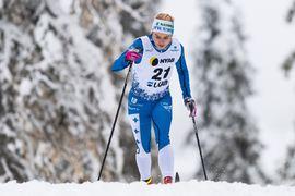 Rebecca Öhrn avancerade från fjärde plats till seger på jaktstarten vid Volkswagen cup i Lycksele. FOTO: Bildbyrån/Mathias Bergeld.