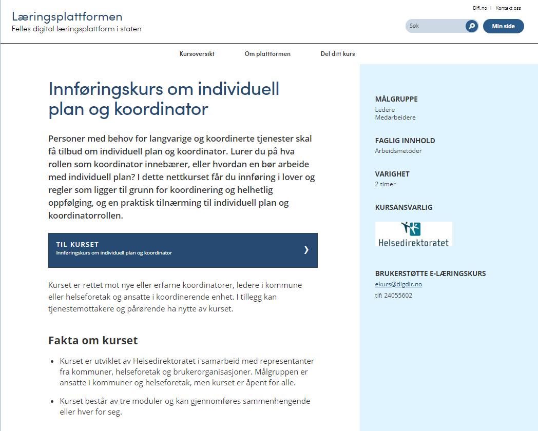 Bilde av forsiden til nettstedet Læringsplattformen