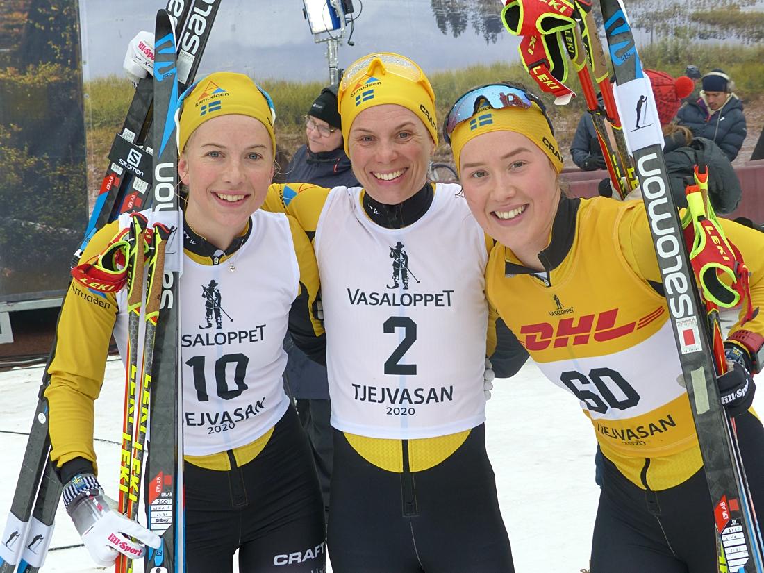 Team Ramudden gjorde en bra laginsats med Ida Dahl trea, Lina Korsgren tvåa och Jenny Larsson femma. FOTO: Johan Trygg/Längd.se.