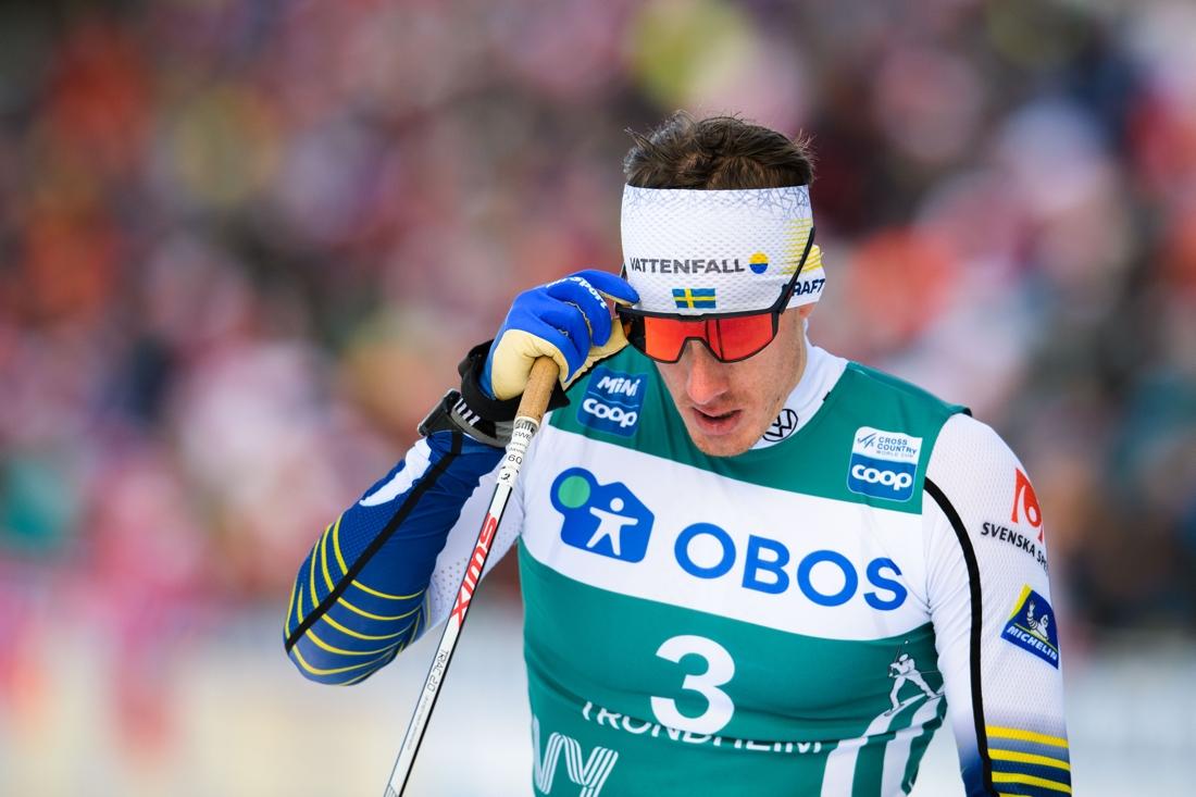 En besviken Johan Häggström efter vurpan i semifinalen. FOTO: Bildbyrån/Vegard Wivestad Grött.