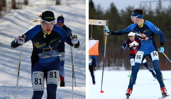 Isabel Salén och Markus Lundholm fick kliva upp på pallen på dagens världscuplopp i skidorientering. FOTO: Svenska orienteringsförbundet.