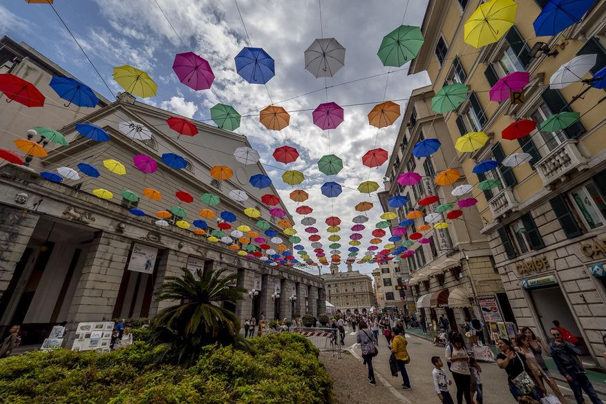 Paraplyer i Piazza de Giorgio Labò, Genova.