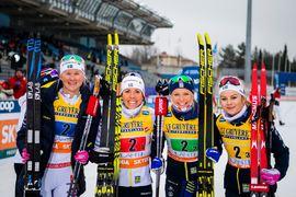 Kvartetten Maja Dahlqvist, Charlotte Kalla, Frida Karlsson and Rebecca Öhrn blev trea på världscupstafetten i Lahtis. FOTO: Bildbyrån/Johanna Lindberg.