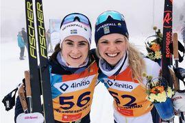 Ebba Andersson vann guld på och Emma Ribom brons på U23-VM under tisdagsförmiddagen. FOTO: Lukas Johansson/Svenska skidförbundet.