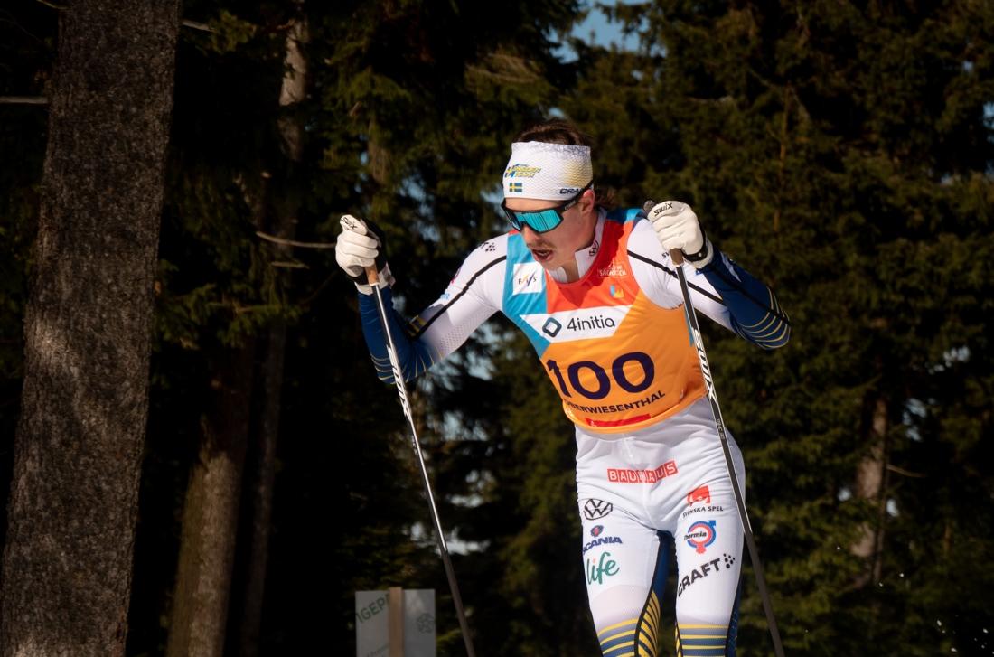 William Poromaa blev nia på 30 kilometer masstart vid JVM. FOTO: Lukas Johansson/Svenska skidförbundet.