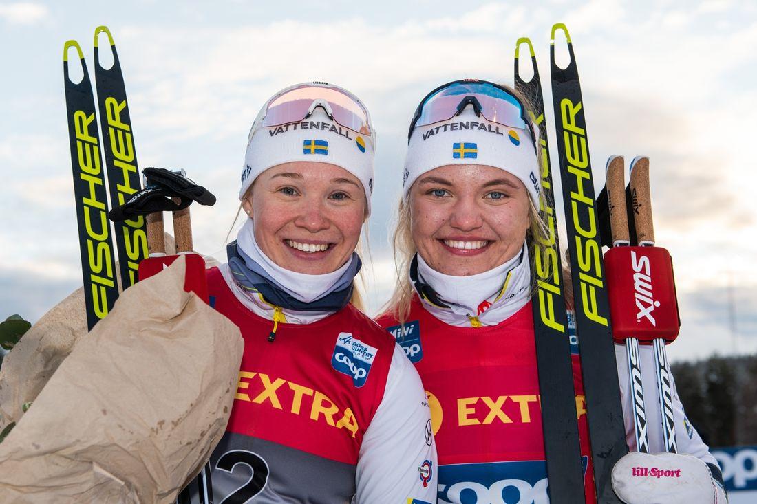 Jonna Sundling ligger tvåa och Linn Svahn leder sprintvärldscupen inför avslutande tävlingar i Nordamerika. FOTO: Bildbyrån/Mathias Bergeld.