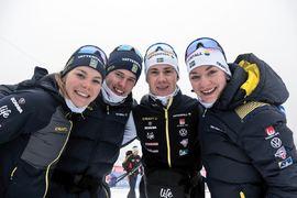 En fjärdeplats på mixedstafetten vid U23-VM blev det för kvartetten Johanna Hagström, Leo Johansson, Fredrik Andersson och Moa Olsson. FOTO: Lukas Johansson/Svenska skidförbundet.