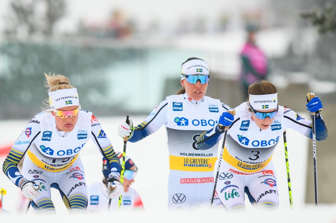 Frida, Charlotte och Ebba åkte suveränt i Holmenkollen. FOTO: Bildbyrån/Mathias Bergeld.