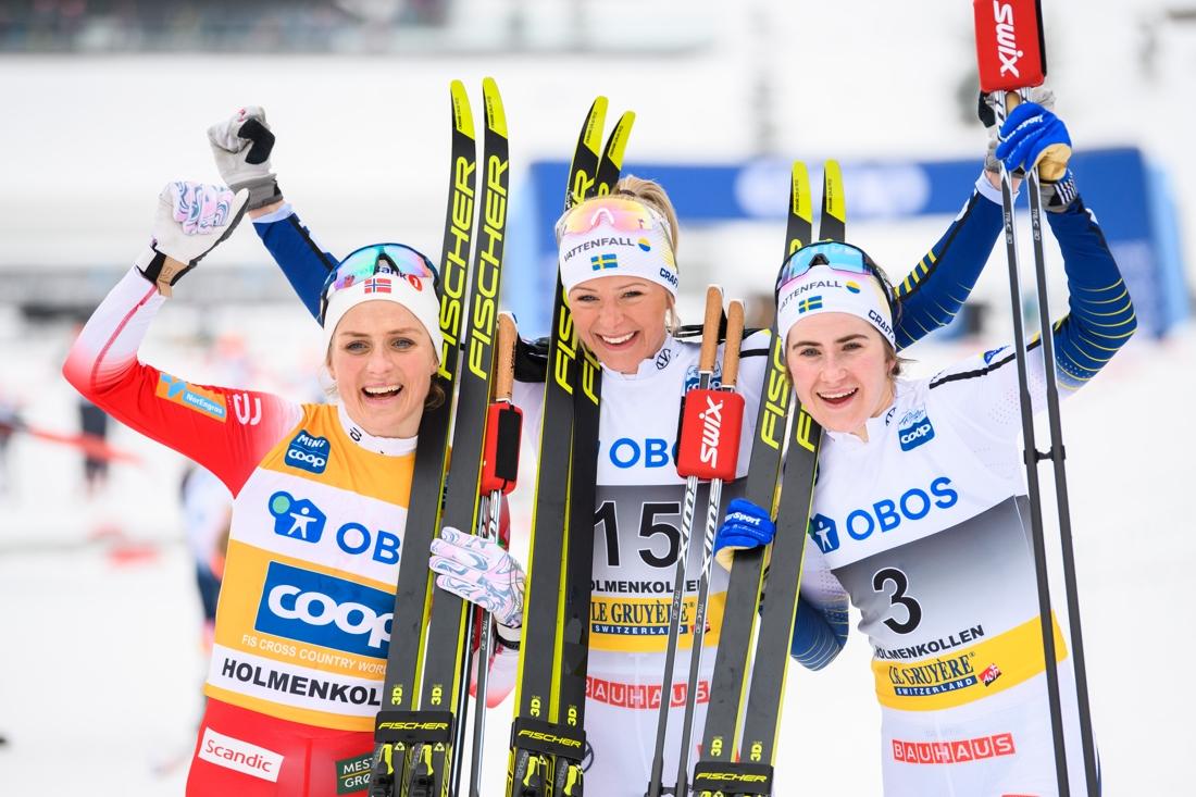 Topptrion Therese Johaug, Frida Karlsson och Ebba Andersson. FOTO: Bildbyrån/Mathias Bergeld.