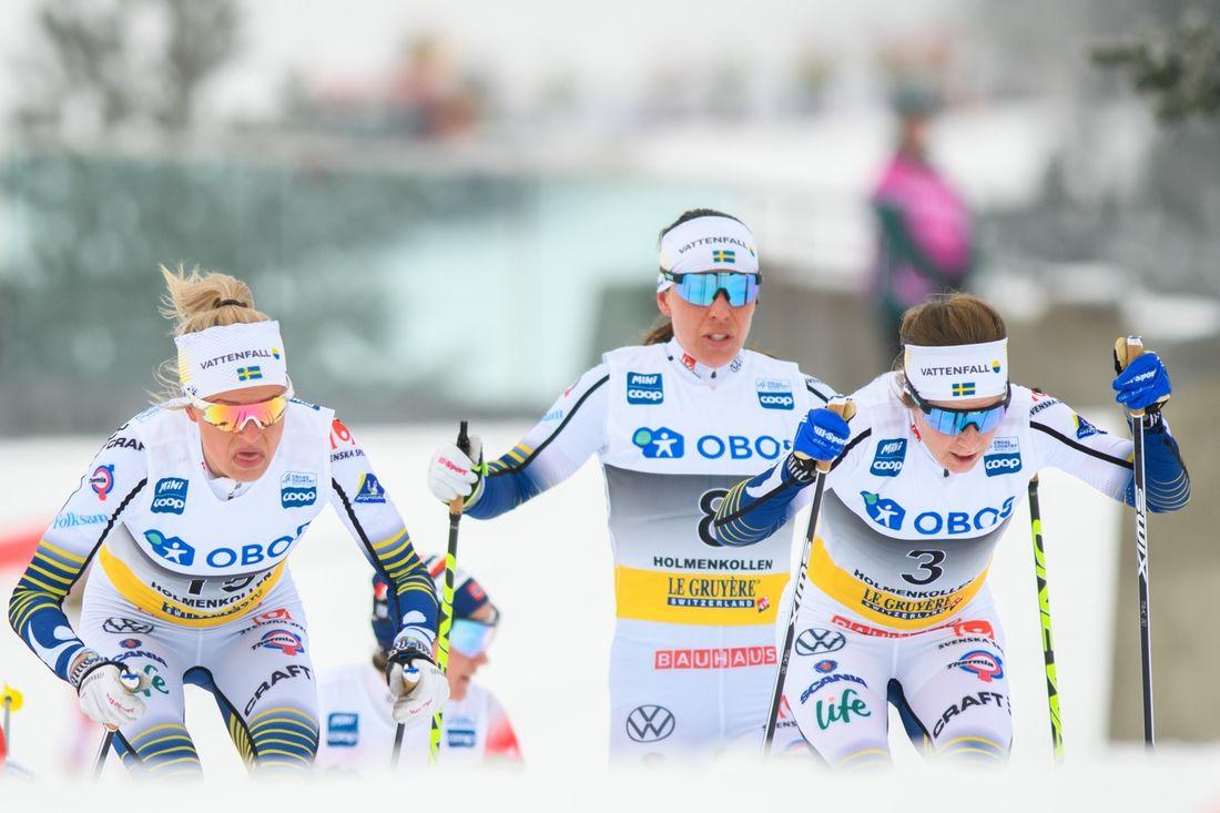 Det blir inget tävlande i Canmore för Frida Karlsson, Charlotte Kalla, Ebba Andersson och de andra svenska åkarna. FOTO: Bildbyrån/Mathias Bergeld.