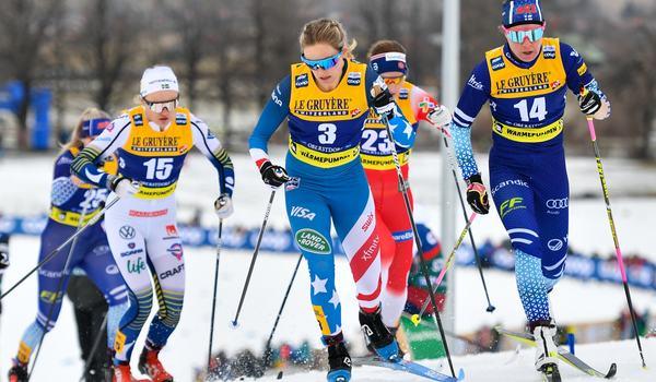 Jessica Diggins får nu inte möjligheten att tävla på hemmaplan i världscupen då sprinten i Minneapolis på tisdag ställd in. FOTO: Bildbyrån - Ulrich Gamel/GEPA PICTURES.