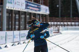 Magdalena Olsson och Markus Lundholm körde hem silver till Sverige vid sprintstafetten på EM i skidorientering. FOTO: Timo Mikkola.