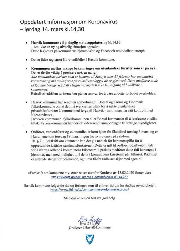 Oppdatert informasjon om Koronavirus - lørdag 14