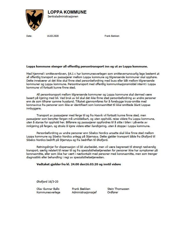 Loppa kommune stenger all offentlig persontransport inn og ut av Loppa kommune