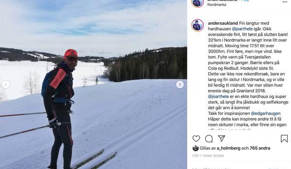 32 mil klämde Anders Aukland och Joar Thele i Nordmarkaterrängen i går. FOTO: Instagram/Anders Aukland.