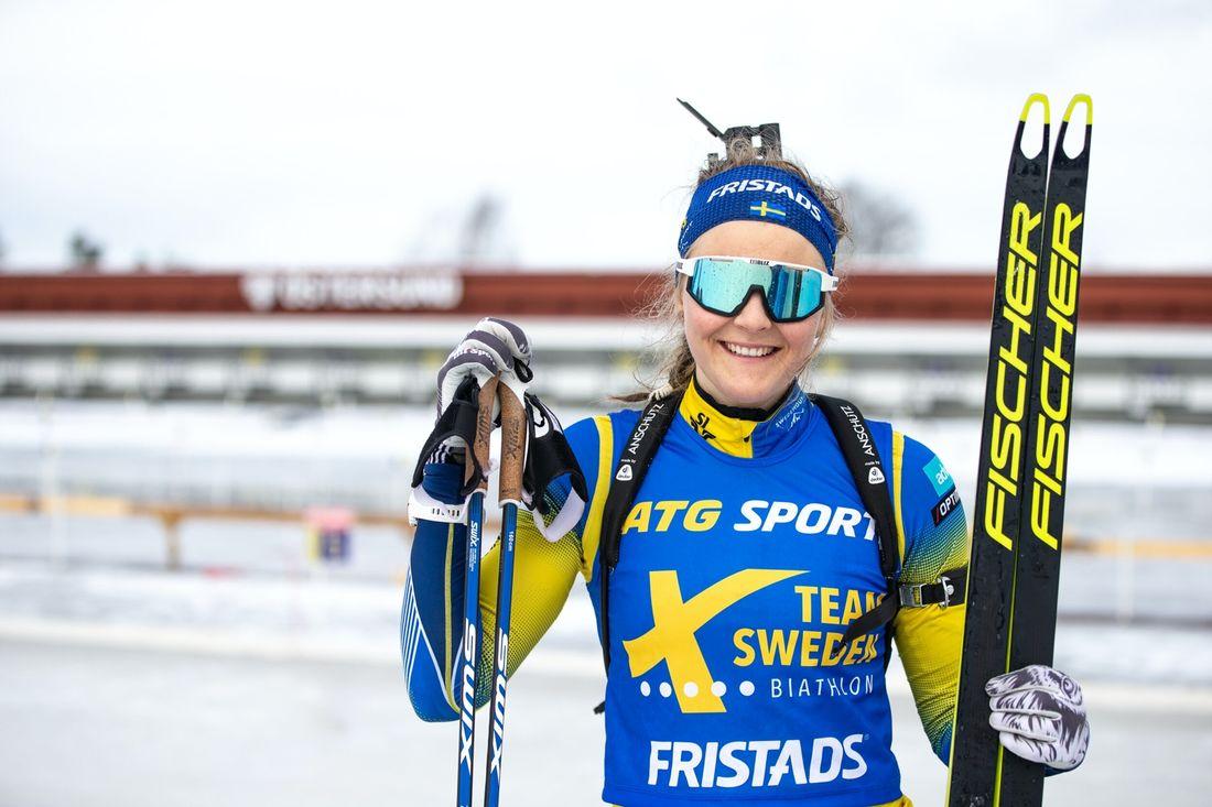 Stina Nilsson kan inte träna med stavar på sex veckor efter en mindre fraktur på en armbåge. FOTO: Per Danielsson.