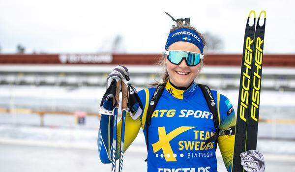 Stina Nilsson får plats i A-landslaget i skidskytte inför hennes första säsong som skidskytt. FOTO: Håkan Blidberg, Skidskytteförbundet.