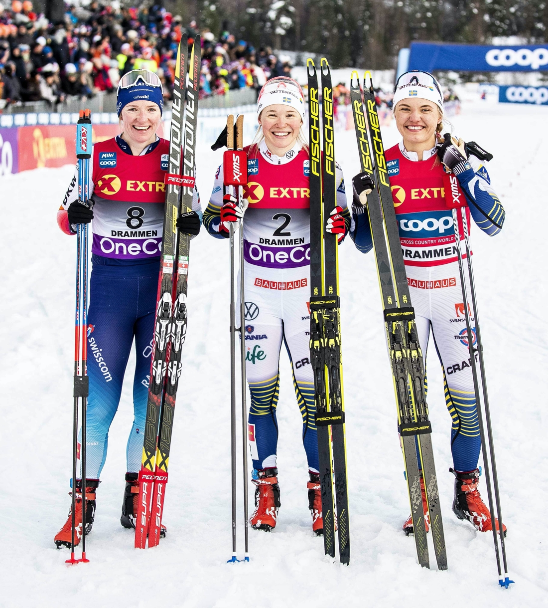 Schweiziska Nadine Fähndrich är en toppåkare i längdvärldscupen på Peltonens skidor. FOTO: Peltonen.