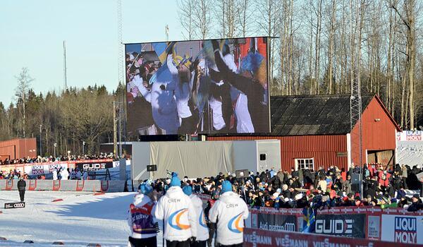 Blir det världscup i Ulricehamn utan publik i vinter. Bilden från 2017 när man arrangerade för första gången. FOTO: Johan Trygg/Längd.se.