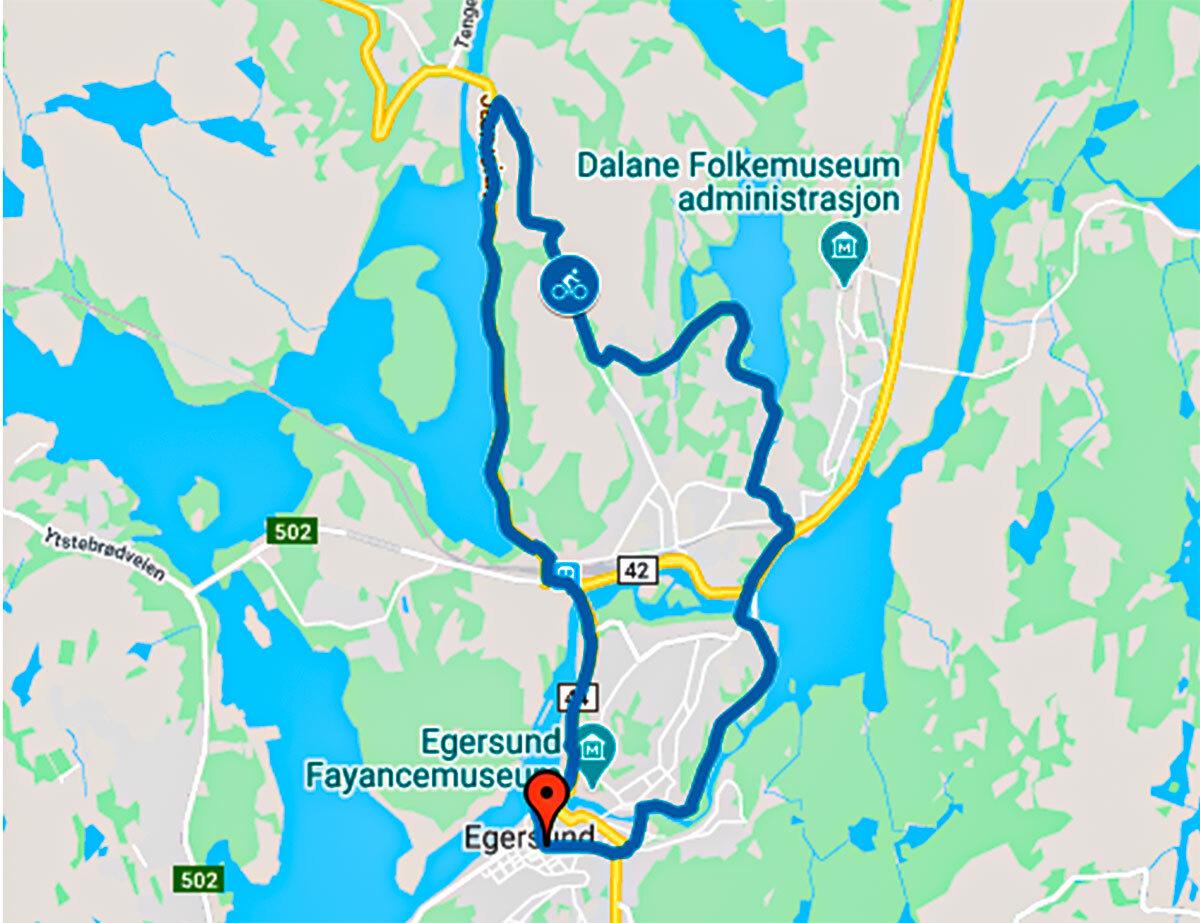 Sykkelrute 10 kilometer