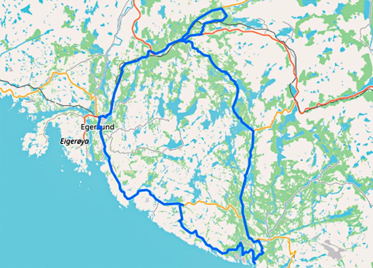 Sykkelrute 90 kilometer