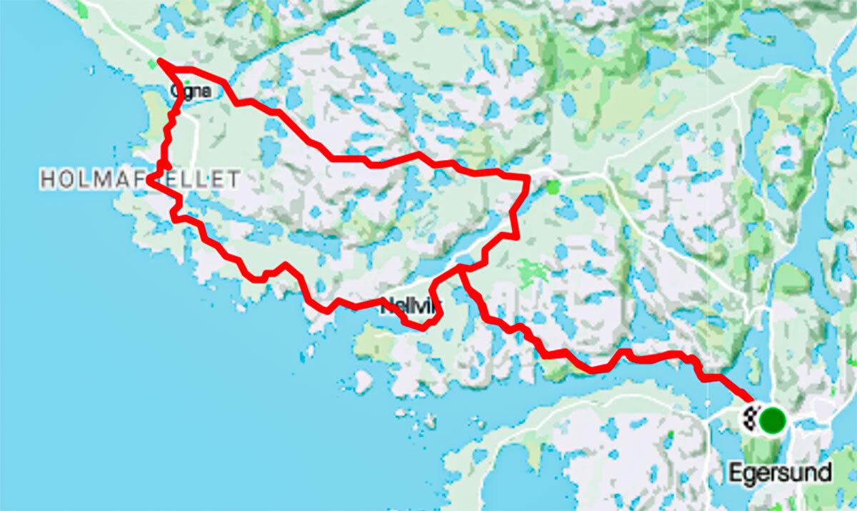 Sykkelrute 40 kilometer