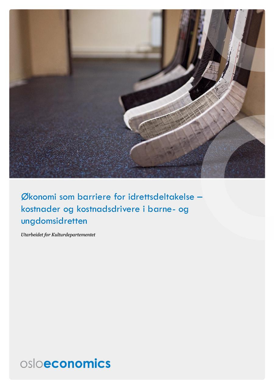 Omslagsbilde til rapporten Økonomi som barriere for idrettsdeltakelse – kostnader og kostnadsdrivere i barne og ungdomsidretten