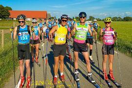 I pole position vid starten av Kullarull: Fr.v. Jonathan Runfors, tvåan i herrklassen Rikard Bergengren, ettan Erik Wickström och snabbaste dam Ebba Johansson. FOTO: David Nilsson.