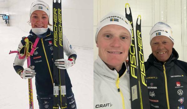 Moa Lundgren och Jens Burman åker på Fischer kommande säsong. Jens här med nytillskottet i det svenska vallateamet, Perry Olsson.