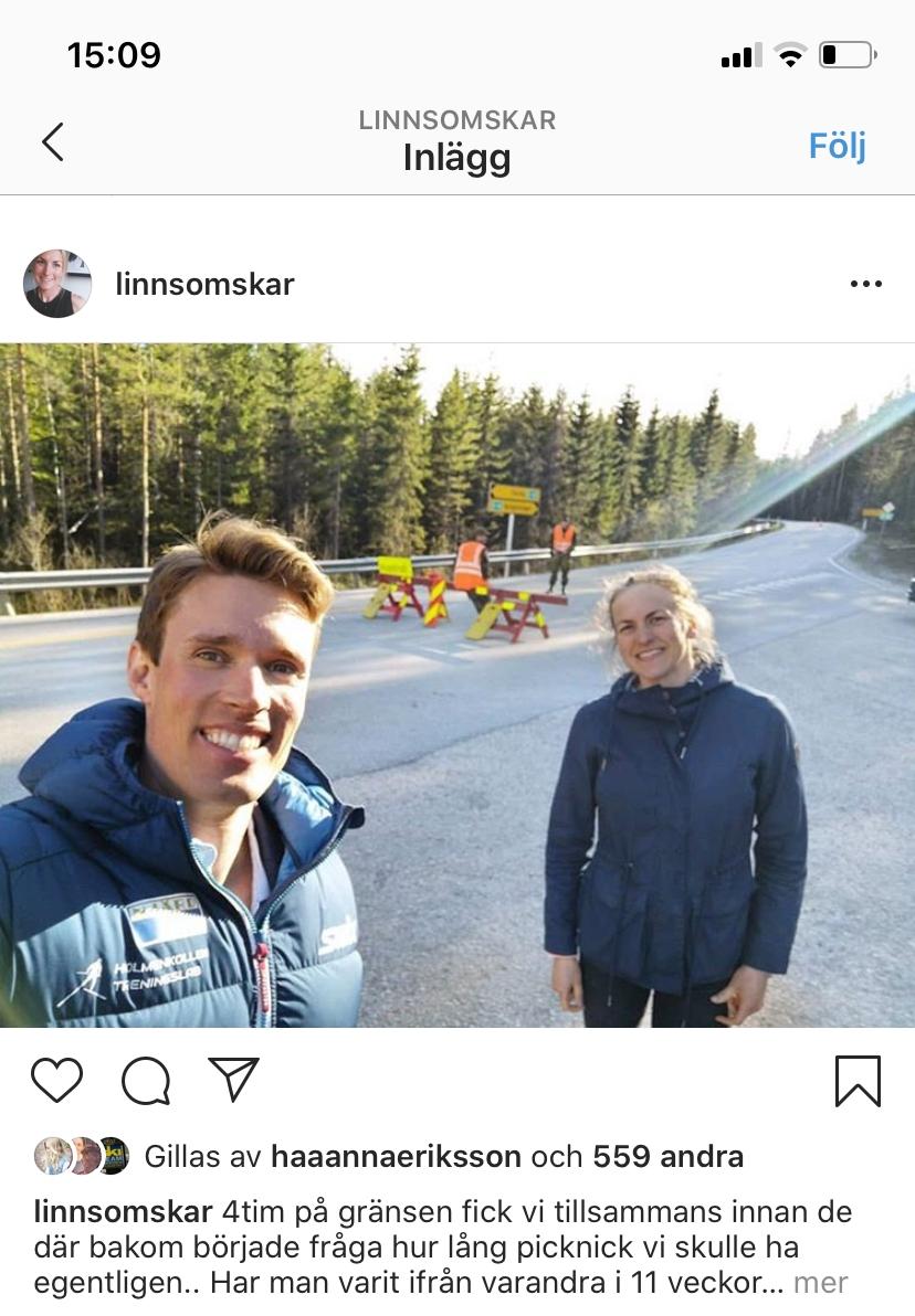 Linn och Ragnar vid norsk-svenska gränsen i slutet på maj. Nu är de dock återförenande i Norge. FOTO: Linn Sömskars instagram.
