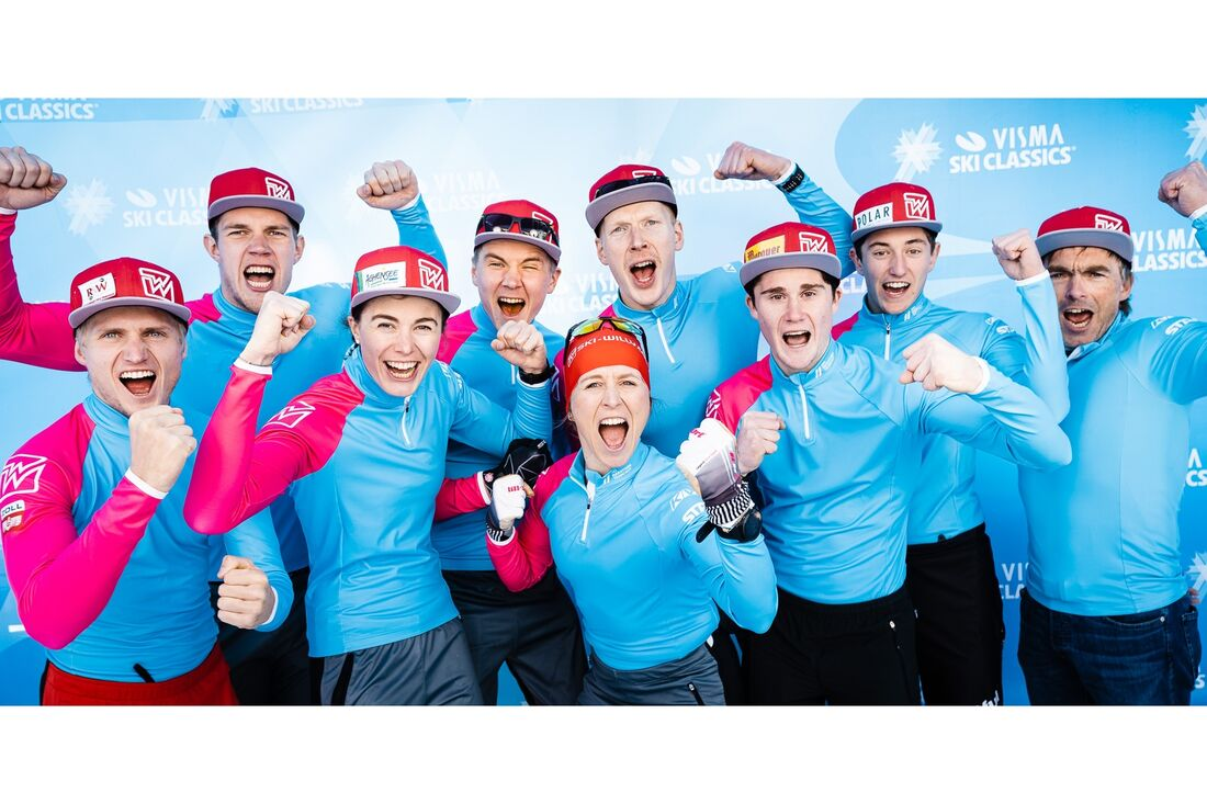 Skimarathon Team Austria vann lagtävlingen på Virtual Classic Tour. FOTO: Visma Ski Classics/Magnus Östh.
