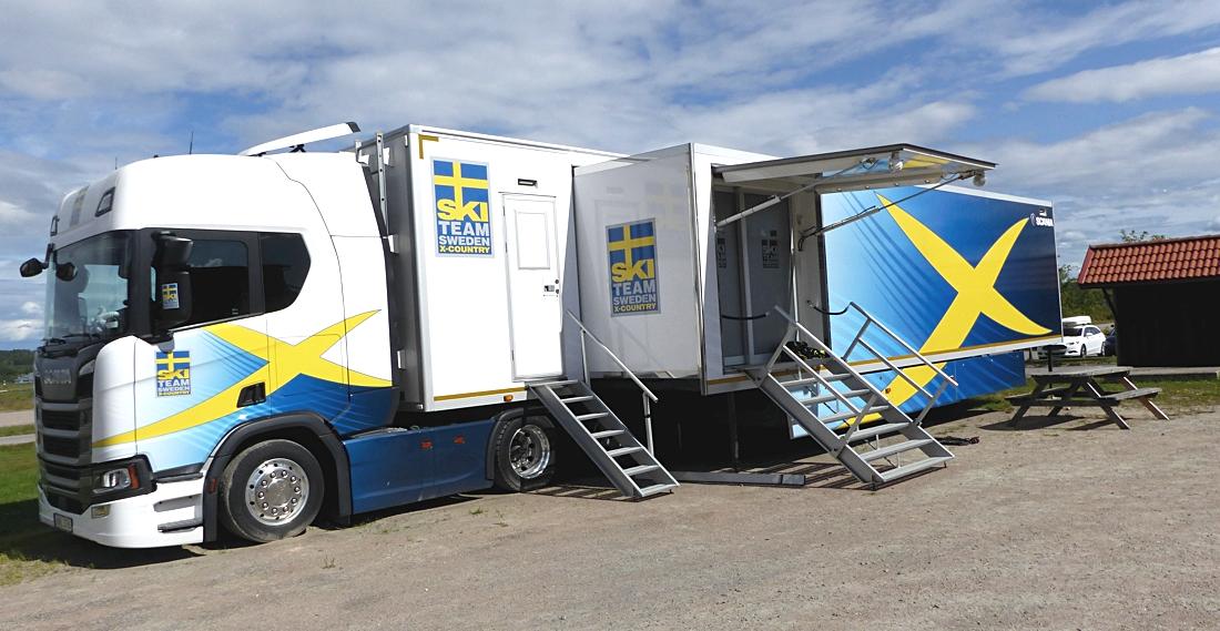 Här i den svenska vallatrailern jobbas det för fullt inför VM-vintern 2021. FOTO: Johan Trygg/Längd.se.