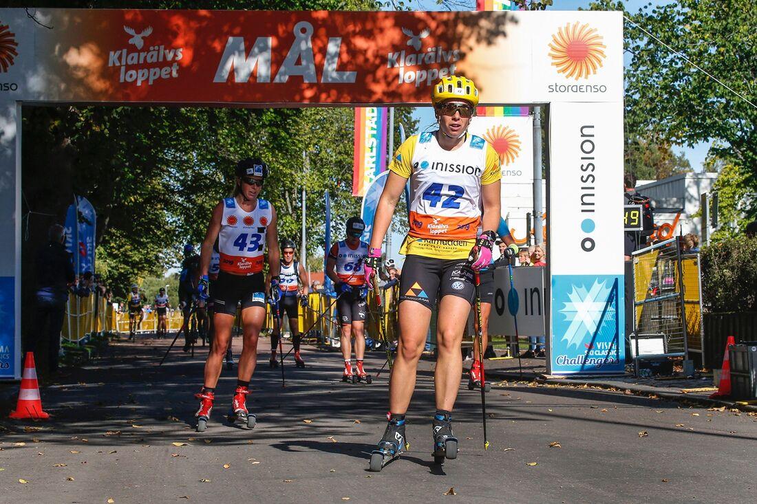 I fjol vann Lina Korsgren nio mil långa Klarälvsloppet. Nu får hon inte chansen att försvara segern då loppet ställts in. FOTO: Tony Welam/Klarälvsloppet.