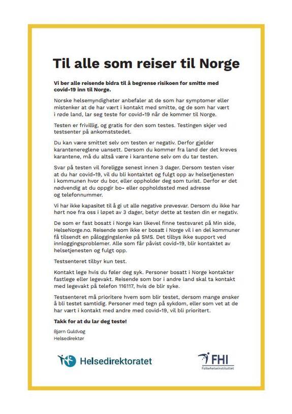 Til alle som reiser til Norge