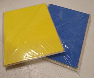 gul og blå plate