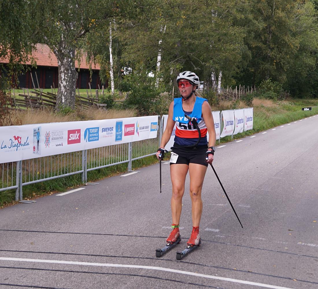 Erika Karlsson var ohotad i damklassen. FOTO: Nybro skidklubb.