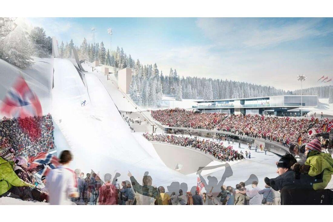 Illustration över framtidens Granåsen där VM ska avgöras 2025. BILD: Norges skidförbund.
