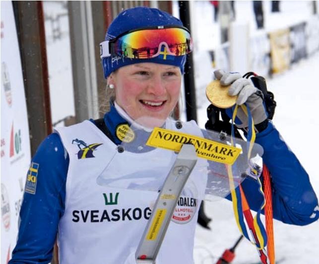 En av höjdpunkterna i Helenes karriär. VM-guldet i skidorientering vid långdistansen i Tänndalen 2011. FOTO: Mikaela Sundbaum.