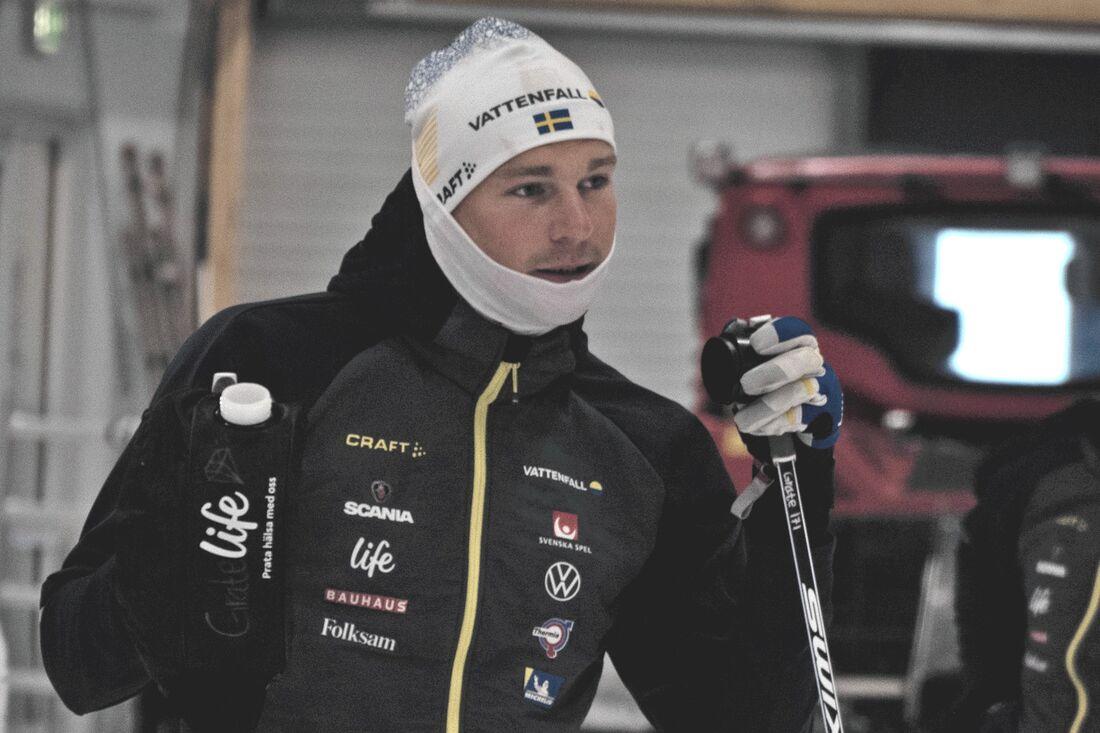 Marcus Grate i Torsby skidtunnel häromveckan. Den snabbe sprintern från IFK Umeå drömmer om individuella pallplatser i världscupen. FOTO: Lukas Johansson/Svenska skidförbundet.