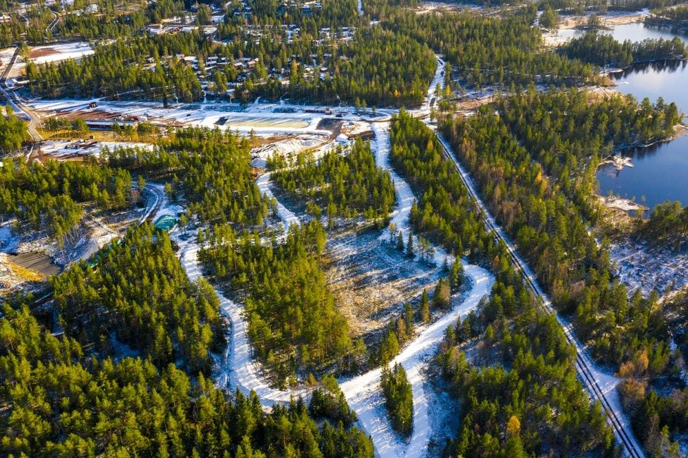 Konstsnöspåret i Grönklitt från ovan under förra veckan. FOTO: Grönklittsgruppen.