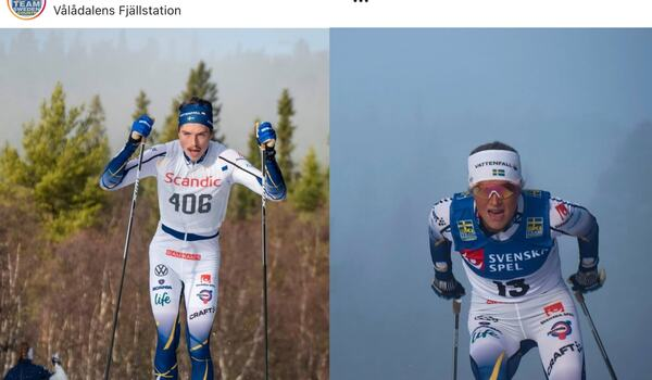 William Poromaa och Frida Karlsson hade bäst fart på landslagets träningsrace i Vålådalen idag. FOTO: Instagram/skiteamswexc.