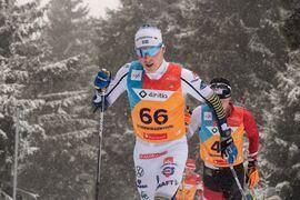 Fredrik Andersson på väg mot en sjundeplats vid U23-VM i vintras. FOTO: Lukas Johansson/Svenska skidförbundet.