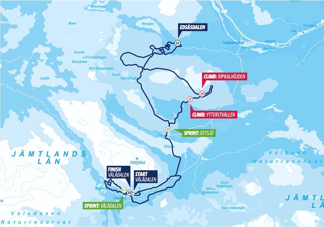 Här är bansträckningen för Årefjällsloppet 100 km.