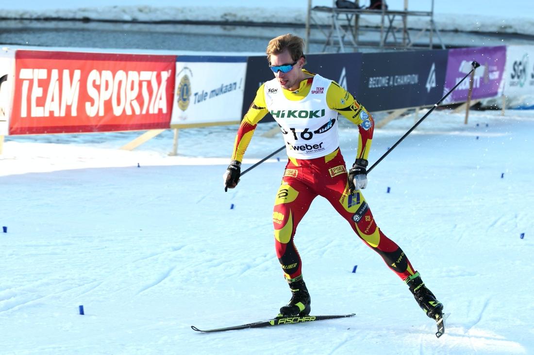 Joni Mäki vann finska cupens sprint i Vukatti på lördagen. FOTO: Touho Häkkinen.