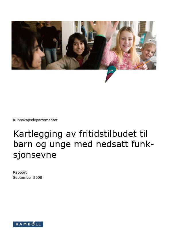 Omslagsbilde til rapport om Kartlegging av fritidstilbudet til barn og unge med nedsatt funksjonsevne