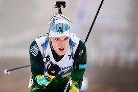 Sebastian Samuelsson vann sekunden före Jesper Nelin vid den svenska skidskyttepremiären på Idre Fjäll. FOTO: Fredrik Karlsson/Bildbyrån.